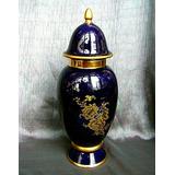 Potiche Azul Cobalto Vintage Porcelana Machado Años 50 Colec