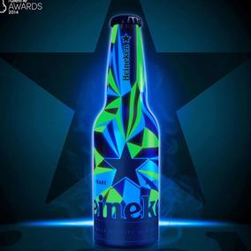 Garrafa Heineken De Alumínio Efeito Luz Negra 330ml Cheia