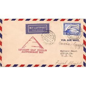 Zeppelin-carta Alemanha-egito-carimbo Vermelho E Preto-cairo