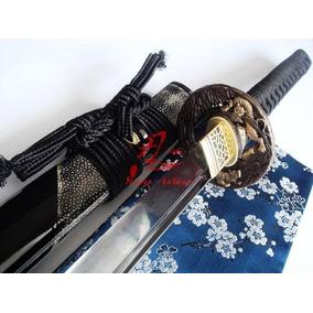 Katana Afiada Aço Damasco Negro Duplo1060+1095 Forjada Corte