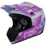 Capacete Motocross Trilha Th1 Insane 5 Branco/lilás