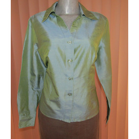 Blusa Satinada De Vestir Talla Mediana Verde Olivo