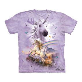 Playera 4d - Unisex Infantiles -8269 Double Rainbow Unicorn.