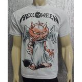 Camiseta De Banda: Helloween - Malha Cinza Clara