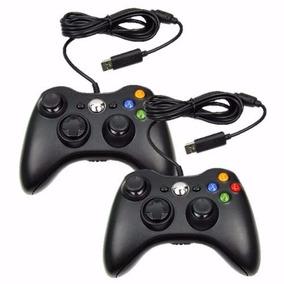 Kit 2 Controle Com Fio Computador Pc Joystick Xbox 360