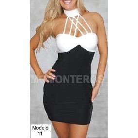Minivestido Negro Con Blanco Con Detalles Metálicos Hm4