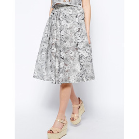 5ca8e1cf70 Hermosa Falda Midi Fashion Union Floral Gris M Envio Gratis
