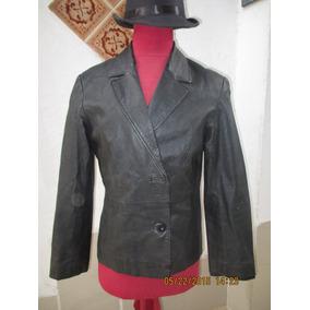 Chaqueta Mujer De Cuero Color Negro Talla L Marca Rossano.