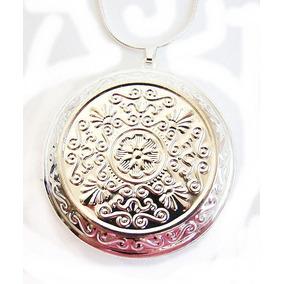 Colar Pingente Relicário Redondo Com Mandala