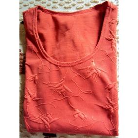 008 Rps- Roupa Blusa Camiseta Moda Atual- Coral