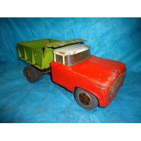 Juguete- Camión Grande Antiguo De Chapa Con Caja Volcador.