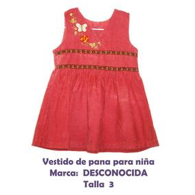 Vestido De Pana Rojo Para Niña.