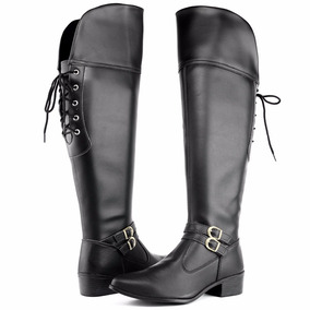 Bota Feminina Over The Knee Cano Alto Amarrar - Inverno 2018