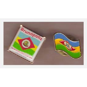 2 Pins Bandeira Do Município De Brunópolis - Santa Catarina