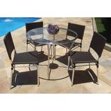 Mesa De 0,90cm + 4 Cadeiras Fibra Sintético Frete Grátis Rj
