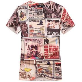 Camisa Estampa Quadrinhos Estilo Moda Camiseta Manga Curta