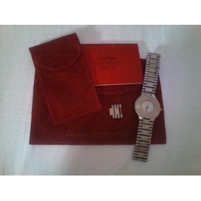 Reloj Cartier Siglo 21 Perno De Oro Con Zafiro