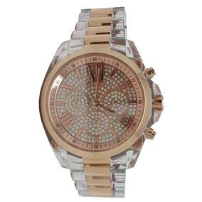 Relógio Luxo Mk5905 Orig Chron Anal Ouro Rosé Acrylic! b23fb20e59
