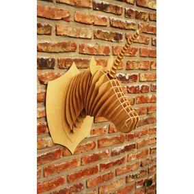 Cabeza Unicornio Mdf Cabeza Animal Trofeo Rompecabezas 3d