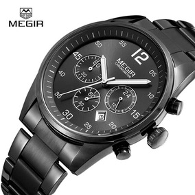 Relógio Megir Chronograph Original Couro Prova D