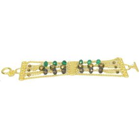 Pulseira Dourada Cristais Verde, Marrom 4427 - Carol Gregori