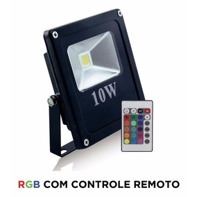 Refletor Holofote Led Rgb 10w Ip65 Prova Dágua Com Controle