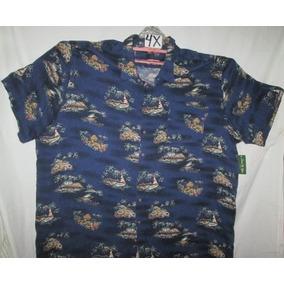 Camisa Casual Azul Estampada Talla 4 X Tipo Hawaiana David T
