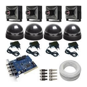 Kit 4 Micro Câmeras Monitoramento Ccd Digital Acesso Intern