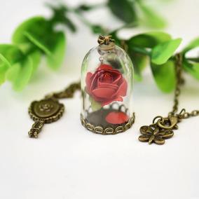 Collar Rosa Encapsulada La Bella Y La Bestia Envio Gratis