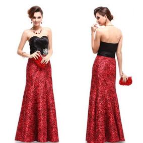 Vestido Importado Festa Formatura Longo Preto Vermelho Luxo