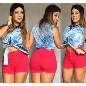 b25c78ee1 Short Cintura Alta Infantil - Shorts Jeans para Feminino Vermelho no ...