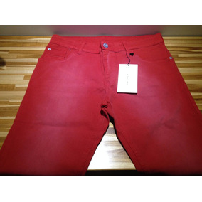Calça Jeans Zara Vermelha Com Detalhe Branco