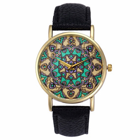 Relógio Mandala Preto Lindo Vintage Dourado
