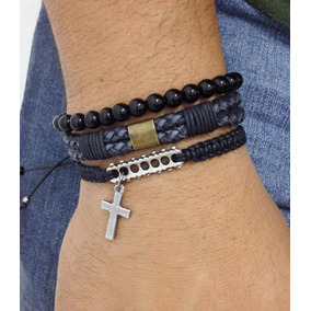 Kit 3 Pulseiras Masculinas Couro Onix Cruz Crucifixo