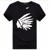 Camiseta T-shirt Masculina Indio Cocar Várias Cores Algodão 2c024bb3ad