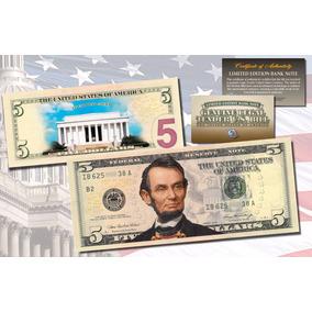 Cédula De $ 5 ( Cinco ) Dólares Legitima Colorida - Raridade