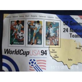 Quadro Selos Comemorativos World Cup Usa 94,moldura Dourada
