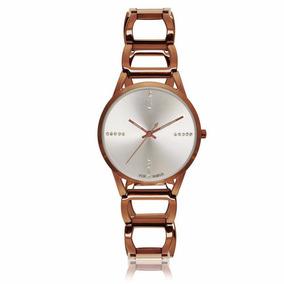 Relógio Vox Feminino Pulseira Em Aço Chocolate, Fundo Prata