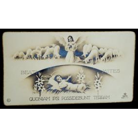 Cartão Italiano De Natal De 1939 Com Jesus, Cordeiros E Anjo