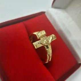 Anel Crucifixo Jesus Cristo Banhado A Ouro 18k (22)
