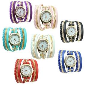 Relógio Feminino Importado Couro Retro Vintage Pronta Entreg