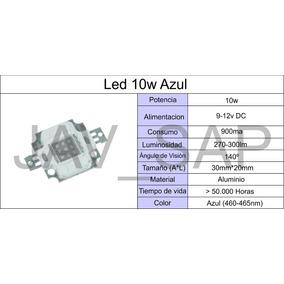 Led 10w 9-12v , Azul, Liquidacion De Stock! Lampara Chip