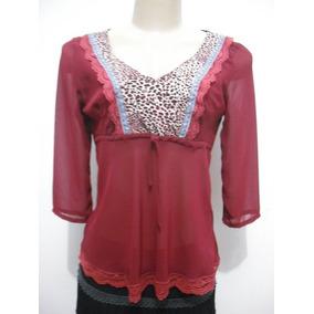 Blusa Feminina Vermelha Detalhe Oncinha E Renda Tam M