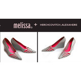 Anabela Melissa Scarfun Sapato Salto Alto Rosa Cinza Scarpin