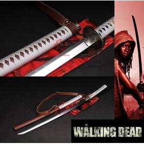 Espada Katana Afiada Walking Dead Corte Aço 9260 Michonne