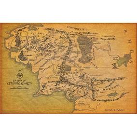 Mapa Terra Media - O Senhor Dos Anéis - Poster Lona 60x90cm