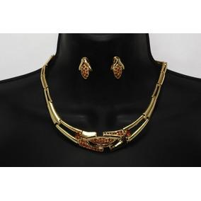 Collar Aretes Brazalete Set Joyeria Dorado Cristales Ce62