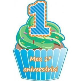 Convite Aniversário Infantil Menino Azul 1 Aninho Kit Com 40