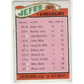 1977 Topps Mexican Jefes De Kansas City Team Checklist # 212