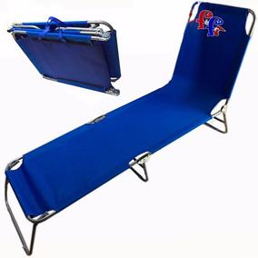 Ff Silla Reposera Plegable De Hierro Azul Playa Piscina